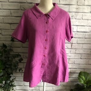 FLAX • Solid Pink Button Up Top 288